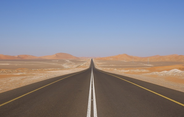 Picture The sky, Photo, Road, Desert, Track, Dunes, The dunes