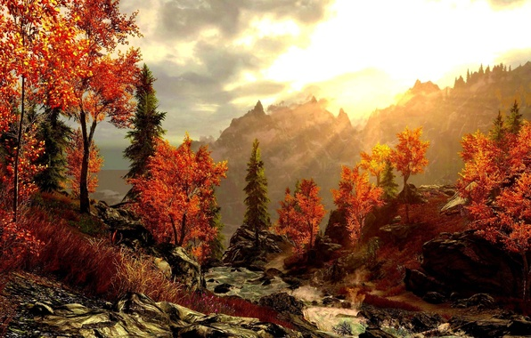 Picture autumn, forest, mountains, picture, art, beautiful, painting, painting, river.