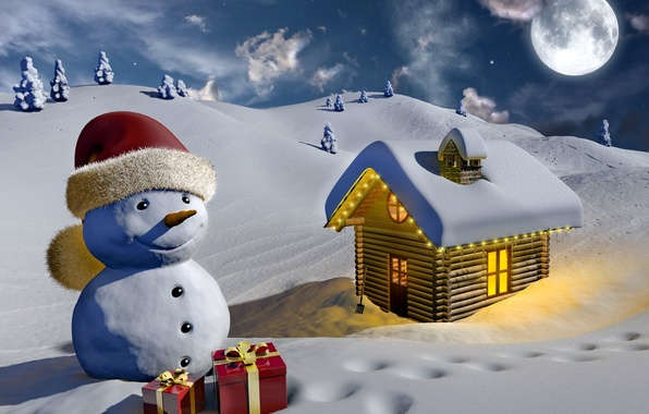 Picture winter, light, snow, house, the moon, graphics, gifts, snowman, tree