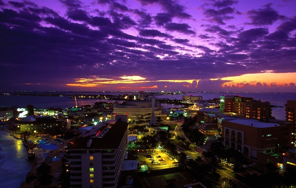 Wallpaper Sunset The City Lights Mexico Night Mexico Cancun At Twilight Cancun Images For Desktop Section Gorod Download