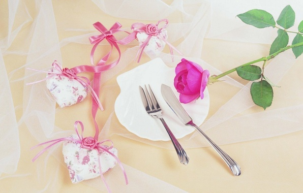 Picture flower, flowers, background, mesh, holiday, Wallpaper, pink, heart, rose, plate, knife, tape, plug, heart