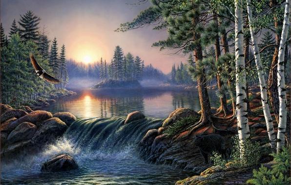 Picture forest, landscape, fog, river, sunrise, eagle, bear, birch, forest, painting, birch, river, bear, nature, pine, …