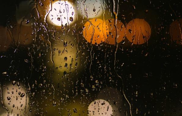 Picture glass, water, drops, macro, lights, rain, yellow, orange, bokeh