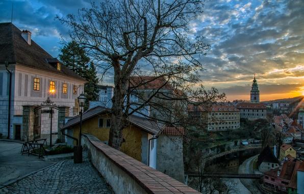 Picture the sky, clouds, bridge, lights, river, street, home, the evening, Czech Republic, Cesky Krumlov