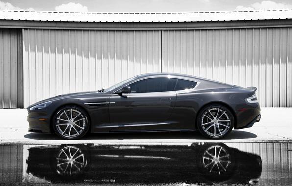 Picture reflection, grey, Aston Martin, shadow, DBS, puddle, profile, Aston Martin, grey, DBS