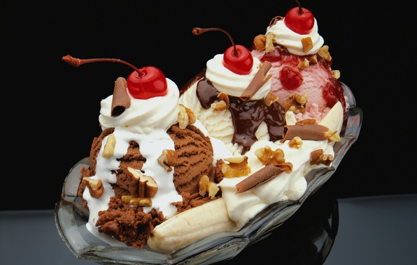 Picture cherry, ice cream, nuts, banana, dessert, chocolate, strawberry, vanilla