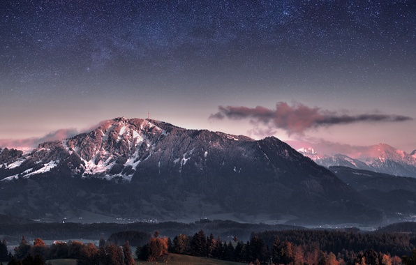 Picture forest, the sky, stars, trees, mountains, the evening, Germany, twilight, The Milky Way