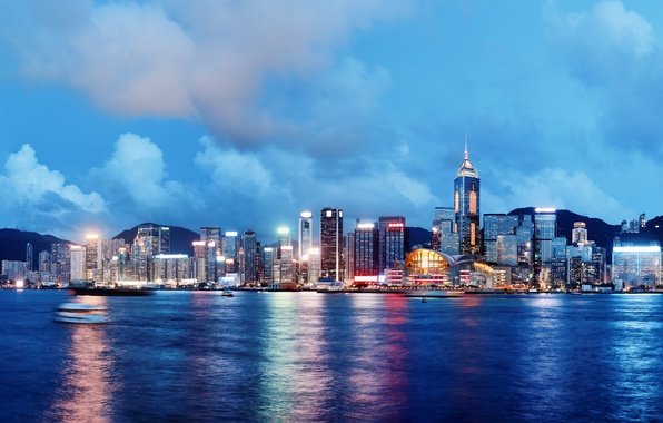 Picture sea, the sky, clouds, night, city, the city, lights, lights, river, building, ships, Hong Kong, …