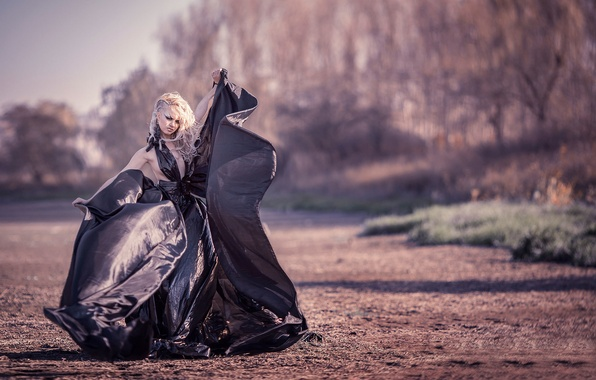Picture girl, dress, film, The dress of garbage bags