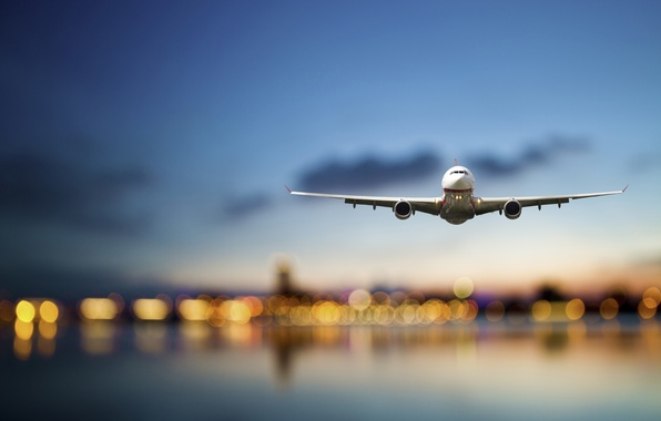 Picture sea, the sky, flight, the city, lights, the plane, height, the evening, blur, airplane, bokeh, …