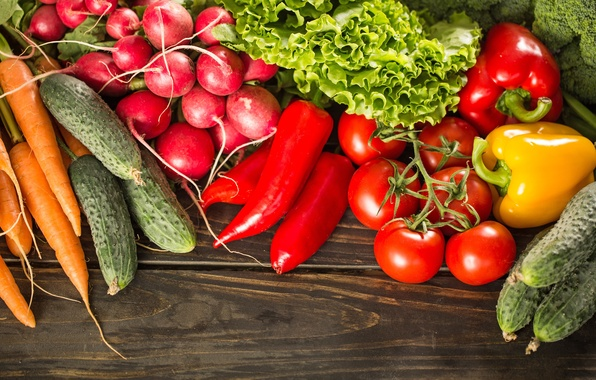 Picture pepper, vegetables, tomatoes, carrots, cabbage, cucumbers, cuts, radishes