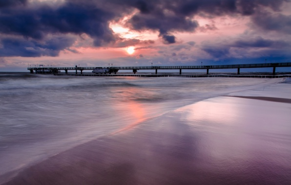 Picture sea, the sky, water, clouds, landscape, bridge, nature, river, background, the ocean, pink, widescreen, Wallpaper, …
