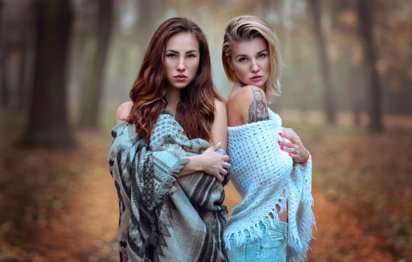 Picture autumn, two girls, Sisters, Katie Sendza