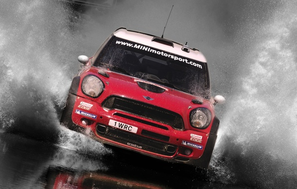 Picture Water, Red, Sport, grille, Machine, Race, The hood, Squirt, Lights, Mini Cooper, Car, WRC, Rally, …