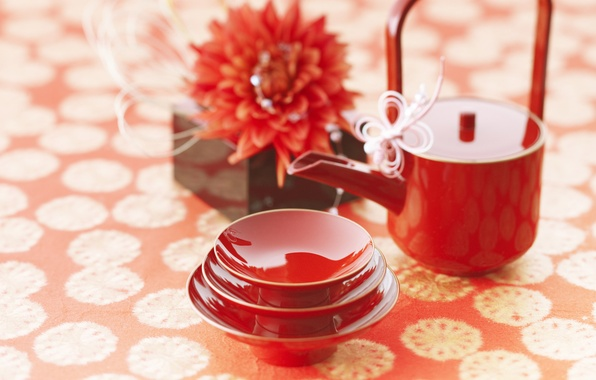 Picture flowers, red, tea, mood, China, Japan, coffee, Cup, tea ceremony