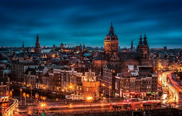 Picture night, bridge, the city, lights, building, road, home, the evening, excerpt, roof, Amsterdam, panorama, Netherlands, …
