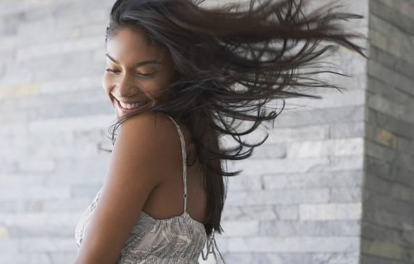 Picture Girl, Smile, The wind, Hair, Dress