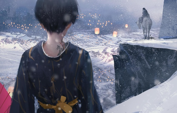 Picture winter, girl, snow, mountains, horse, anime, art, tattoo, kimono, lanterns, jade, wlop, ghost blade