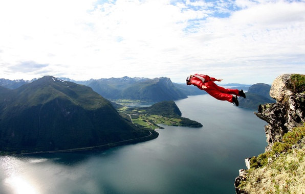 Picture flight, parachute, container, rock, tracking, the fjord, extreme sports, jump, base jumping, beyser, tracking suit