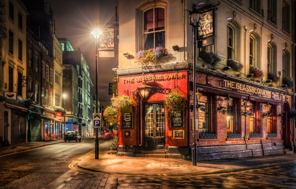 Picture night, street, England, London, lights, cafe, England, City By Night