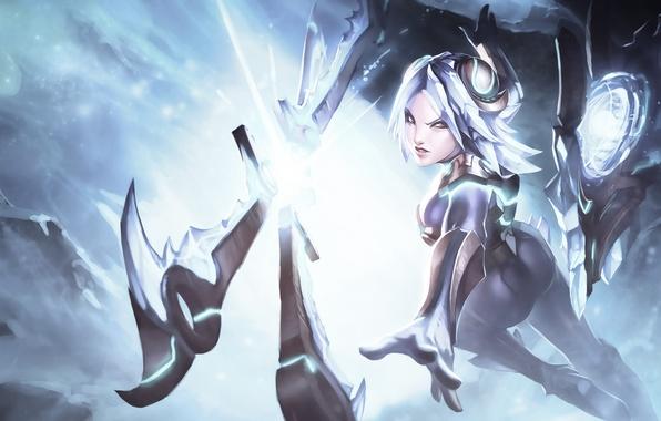 Picture girl, weapons, art, Irelia, League Of Legends