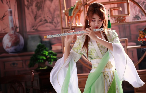 Picture girl, music, tool, flute