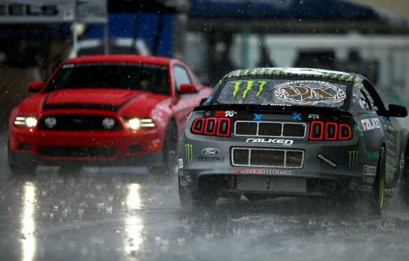 Picture Mustang, Ford, Rain, Mustang, Lights, RTR, Rain, Monster Energy, Tuning, Team, RTR, LightsФорд, Monster