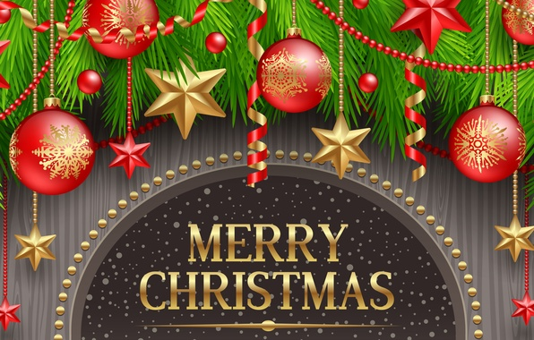 Wallpaper stars, decoration, holiday, balls, balls, stars, Merry Christmas, h...
