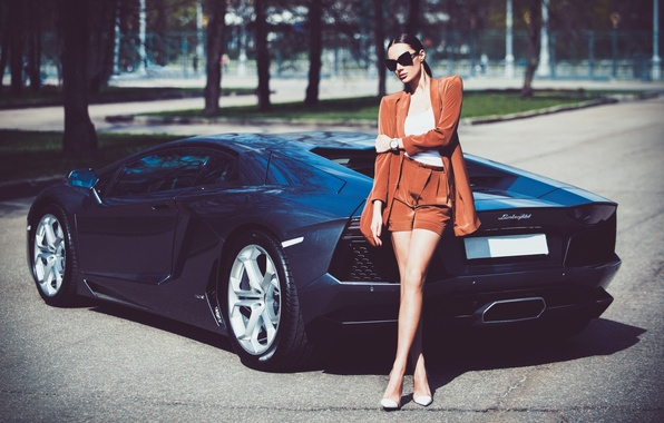 Picture Lamborghini, Girl, Legs, Model, LP700-4, Aventador, View, Supercar, Hair, Rear, Julia Adasheva
