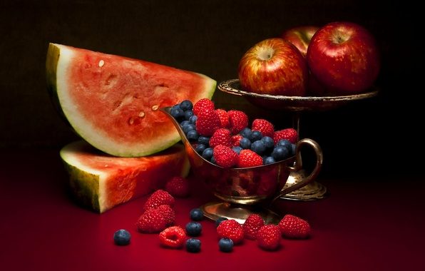 Picture berries, raspberry, apples, watermelon, fruit, still life, blueberries
