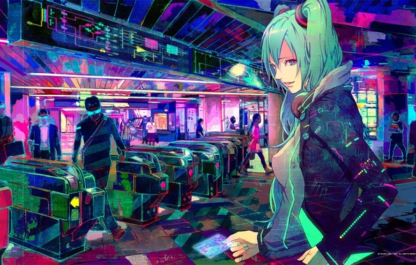 Picture people, metro, paint, art, vocaloid, hatsune miku, Vocaloid, people, Metro girl, card