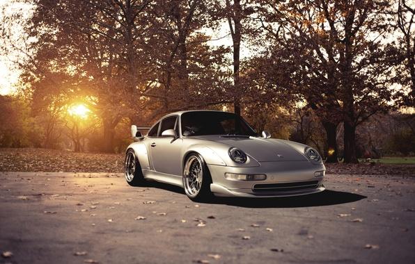 Picture the sun, trees, 911, Porsche, silver, Porsche, Blik, GT2, front, silvery, 993