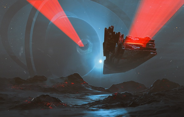Picture space, light, mountains, fiction, ship, planet, ring, spaceship