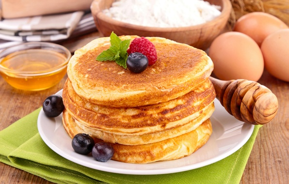 Picture berries, raspberry, food, blueberries, honey, spoon, dishes, pancakes, flour, pancakes, pancakes