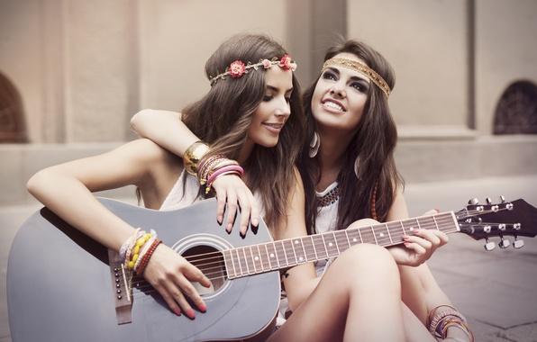 Picture girls, guitar, friendship, smile, girlfriend