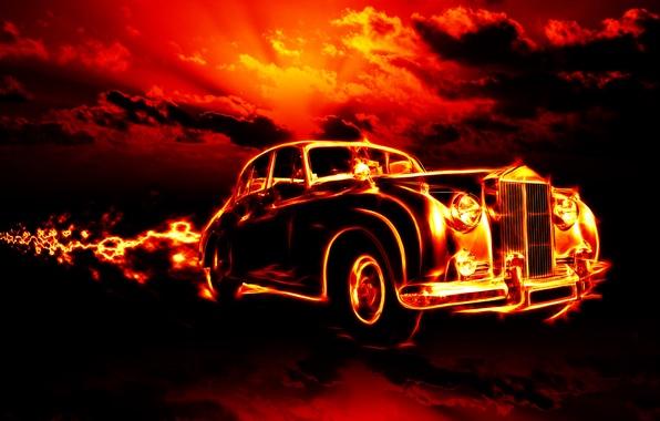 Picture car, clouds, machine, city, city, fire, flame, fire, flame, horror, horror, classic, smoke, clouds, classic, …