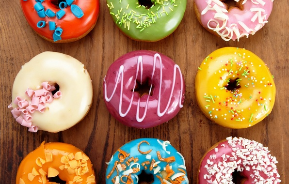 Picture colorful, donuts, dessert, cakes, sweet, glaze, dessert, donuts
