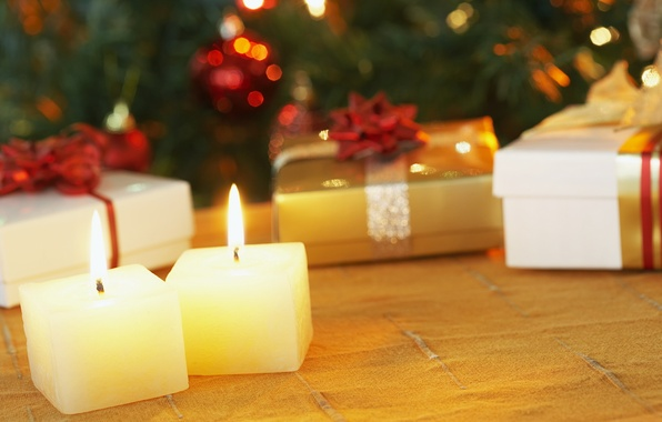 Picture macro, fire, flame, holiday, new year, candles, gifts, bows, new year, ribbons, box, packaging