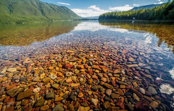 Picture water, nature, lake, stones, Nature, Landscape, Glacier National Park, Montana, Lake McDonald