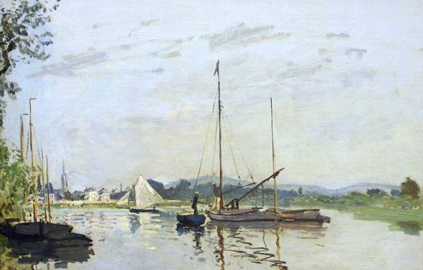 Picture landscape, river, boat, picture, sail, Claude Monet, Argenteuil