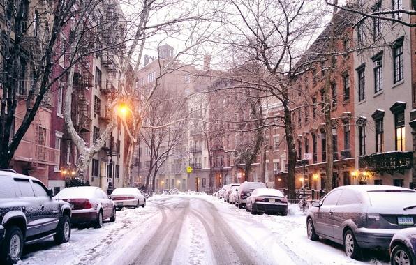Picture winter, road, light, snow, trees, machine, the city, street, building, home, New York, lights, USA, …