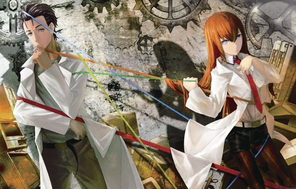 Picture girl, anime, art, tie, guy, Bathrobe, thread, makise kurisu, Steins;Gate, huke, gates Stein, okabe rintarou