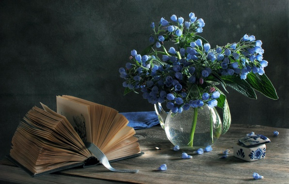 Picture flowers, blue, box, book, vase, still life, spring