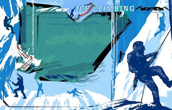 Picture ice, snow, mountains, abstraction, Wallpaper, vector, silhouette, climbing, ice climbing, climbing