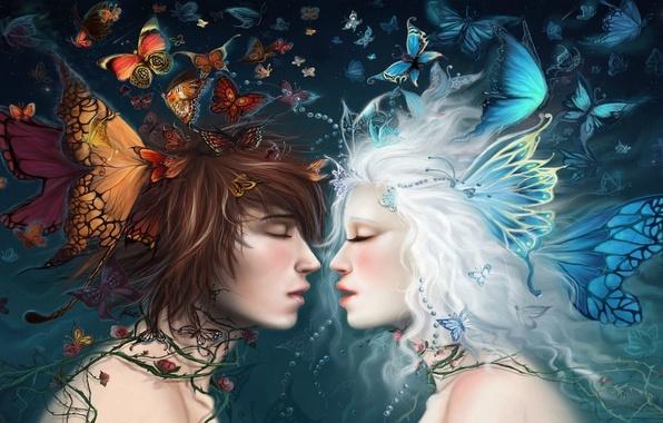 Picture girl, butterfly, art, guy, akubaka