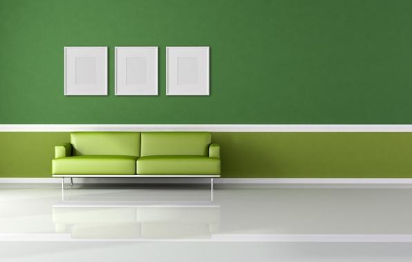 Picture white, green, sofa, minimalism