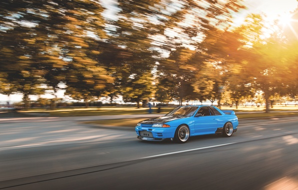Picture car, GT-R, in motion, R32, Nissan Skyline