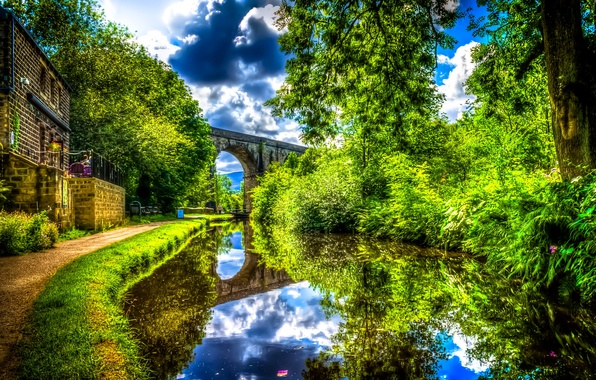 Picture greens, water, clouds, trees, bridge, house, reflection, river, England, treatment, the bushes, Uppermill