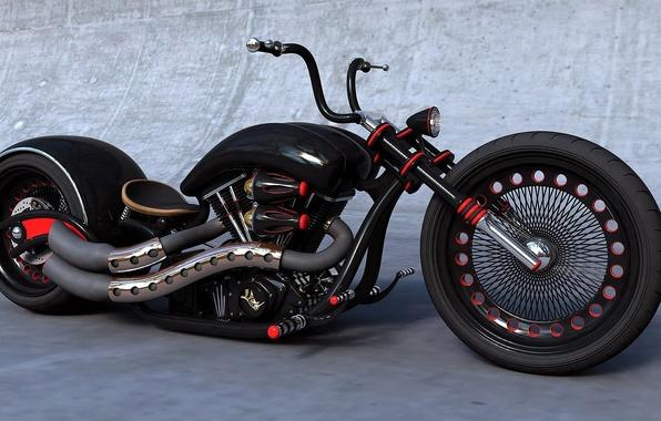 Picture BLACK, The WHEEL, WHEEL, ENGINE, CHOPPER, BIKE, MUFFLERS