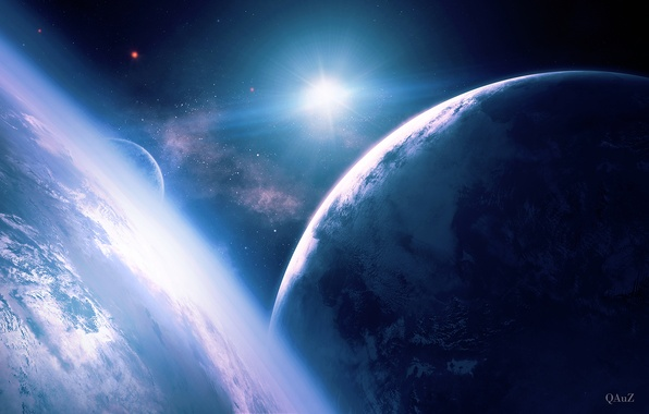 Picture space, star, planet, satellite, art, QAuZ